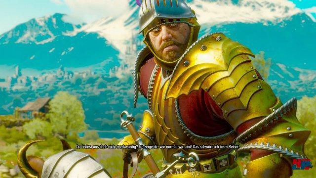 """Immer wieder dringt der süffisante Humor durch: Die Ritter fragen Geralt, ob er sie """"merkwürdig findet""""..."""