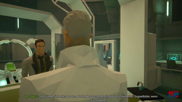 Adam sucht derweil in City 5 nach Erinnerungsfragmenten - und muss dazu z.B. das klinsich freundliche Klinikpersonal austricksen.