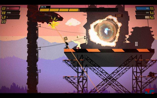 Der erste Spieler kann sich im Shop mit kleinen Helfer-Satelliten ausstatten – oder er lässt sich von einem Freund helfen, der lokal als schwebende Drohne einsteigt.