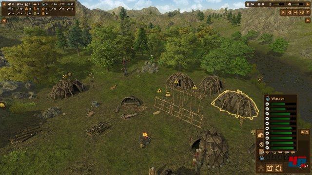 Mit kleinen Hütten und wenigen Einwohnern beginnt die Partie.