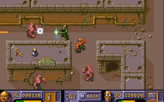 Selbst heutzutage ist ein kooperativer Mehrspielermodus alles andere als eine Selbstverständlichkeit, 1993 galt das noch weniger. Aus diesem Grund konnten Amiga-User 1993 umso glücklicher sein, dass The Chaos Engine nicht nur einen Koop-Zweispielermodus bot, sondern auch der Rest des Games hochklassig war: Geprügt von einzigartigen Grafikstil der Bitmap Brothers sauste man durch die Levels, erledigte bizarre Gegner, aktivierte »Nodes«, um im Level weiterzukommen, verkloppte gesammeltes Bargeld für Waffenupgrade - und gab am Ende des hammerharten Abenteuers schließlich der Titel gebenden Chaos Engine den Rest. Eine Art modernes Gauntlet mit sechs verschiedenen Spielfiguren, die alle ihre Stärken und Schwächen hatten. Wie auch die Zensoren der amerikanischen Konsolenversionen, die aus dem »Prediger« einen »Wissenschaftler« machten, inkl. Wegfall seines Kollars - da war wohl zu viel britische Blasphemie im Spiel. 1711273