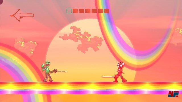 Grüner Cyberpunk gegen roten Mutanten auf Regenbogenbrücke: Die Charaktere und Umgebungen sind abwechslungsreich und herrlich bizarr.
