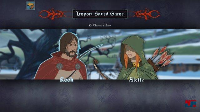 Wer keinen Spielstand importiert, jkann sich zu Beginn für Rook oder Alette entscheiden.