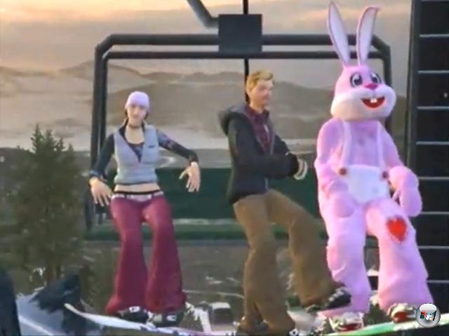 <b>Amped 3 (2K Sports, 2005)</b><br><br>Ein Snowboardspiel. Mit Schneehaserln? Nein, mit einem gigantischen, ausgesprochen rosa Bunny-Kostüm, in dem man die Berge hinab sauste. Bizarr? Sicherlich. Aber gibt es eine schönere Möglichkeit ein Spiel zu beginnen, als in einem gigantischen, ausgesprochen rosa Bunny-Kostüm einen Berg hinab zu sausen? Wohl kaum. 1936323