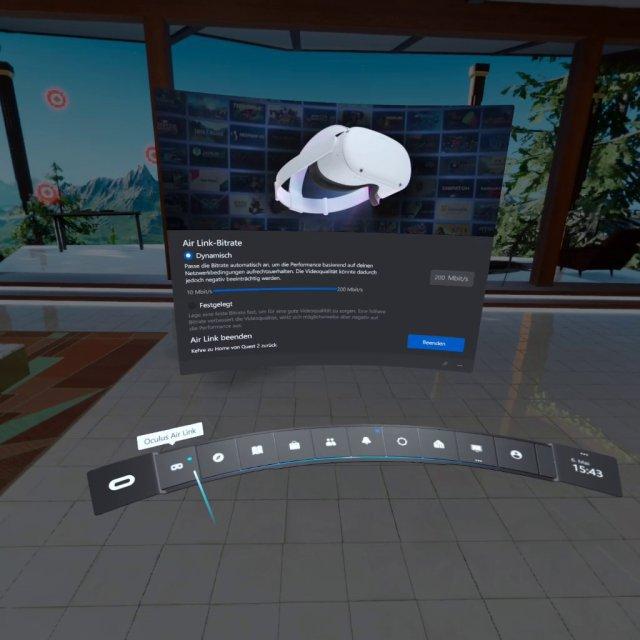 Nach geglückter Verbindung bekommt man das Home-Menü der Rift am PC zu Gesicht. In den ersten Sekunden der Übertragung ist die Kompression mitunter noch etwas niedriger.