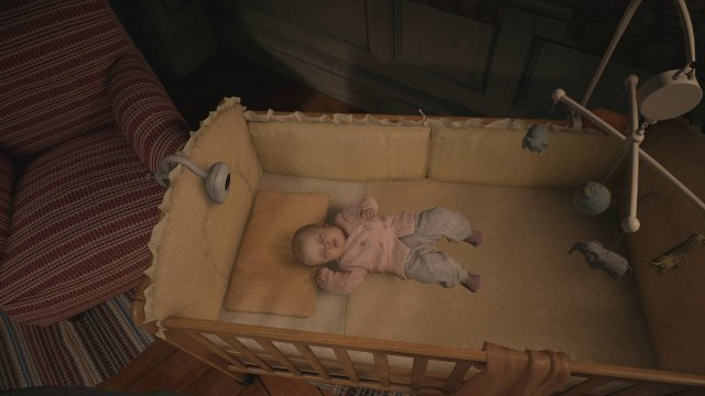 Das Spiel beginnt im Zuhause der Winters: Ethan bringt Baby Rose zu Bett... (PC)