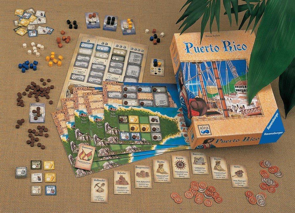 Puerto Rico erschien 2002 bei Ravensburger und kostet aktuell knapp 30 Euro.