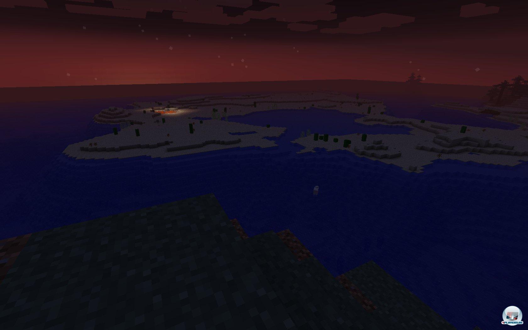 Was leuchtet da hinten im Abendrot? Selbst in der zufällig erstellten Welt von Minecraft wird es unheimlich viel zu entdecken geben.