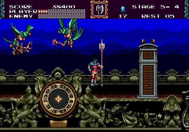 Und das mussten sie drei Jahre lang tun, denn erst 1994 gab es endlich ein Sega-Castlevania: »Bloodlines«, das in Europa allerdings »The New Generation« hieß. Der Name war nicht die einzige Änderung, es gab erstaunlich viel Zensur für ein 2D-Spiel: Blut wurde umgefärbt, der Tod einer Spielfigur weniger zynisch gestaltet, die Platzierung von Gegnern verändert. Davon abgesehen war dieses Spiel Teil einer mittelschweren Sensation: Bis dahin hatte Konami noch nie etwas für eine Sega-Plattform entwickelt, die Firma war Nintendo im Großen und Ganzen sehr treu. Was natürlich außerhalb für grimmige Gesichter sorgte, denn Konami-Games galten seinerzeit als Meisterwerke. 2164293