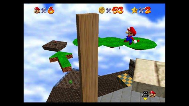 Wie komme ich da nur hinüber? In Super Mario 64 gab es als Neuerung mehrere Ziele pro Level, die sich oft sogar in einer persönlichen Reihenfolge entdecken ließen.