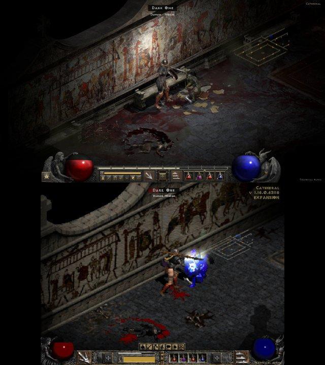Grafik-Vergleich im Kloster (Akt 1): Die Wandmalerei ist bei Diablo 2 Resurrected (oben) klarer zu erkennen. Außerdem findet man in der gesamten Umgebung mehr Details. Das Original (unten) war oftmals ziemlich leer und karg.