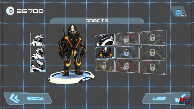Maschinelle Menschmaschine: Die freischaltbaren Robos tanzen nach Abschluss einer Strecke einen coolen Electro-Boogie.