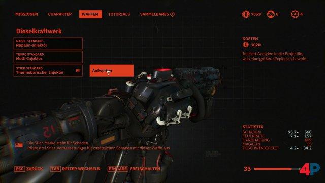 Neben Fähigkeiten lassen sich auch die Waffen verbessern.