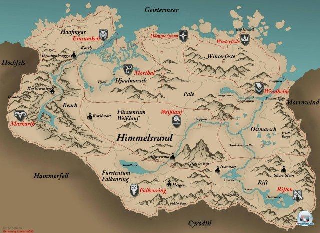 karte skyrim Deutsche Skyrim Karte   Guides & Spieletipps zu The Elder Scrolls