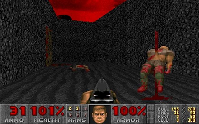 Doom<br><br>Und noch einmal zurück zu den Wurzeln. Mir ist ja durchaus bewusst, dass unheimlich viele Spieler unheimlich viel Spaß daran hatten, ids Monstermassen mit unheimlich viel Blei vollzupumpen. Spätestens unter dem Einfluss der Droge idkfa war das auch alles kein Problem. Ich habe meinen ersten Ego-Shooter allerdings als feine Horrormär erlebt, den Schwierigkeitsgrad ganz nach oben geregelt – und mich vor jedem schnalzigen Grunzen so gigantisch gefürchtet, dass ich damals eine Rekordzeit im Langsamdurchspielen erzielt haben muss. 2134608