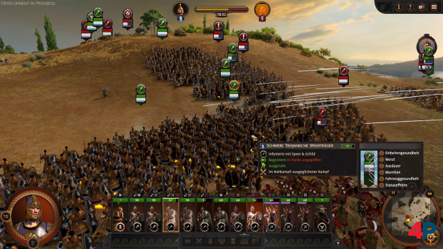 Die Infanterieverbände verkeilen sich ineinander, während die Bogenschützen von hinten für Unterstützung sorgen.