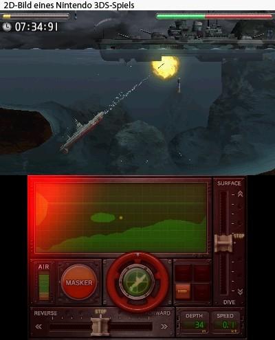 Den größten Teil des Spiels nimmt der Sidescoller in Anspruch: Hier tuckert man mit einem von drei U-Booten von links nach rechts, weicht Bomben und Felsen aus und torpediert feindliche Schiffe in gluckernde Tiefen.