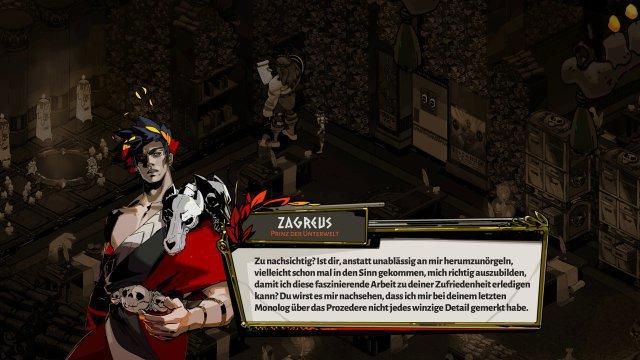 Zagreus ist unzufrieden mit seiner Situation in der Unterwelt und mit seinem Vater ...