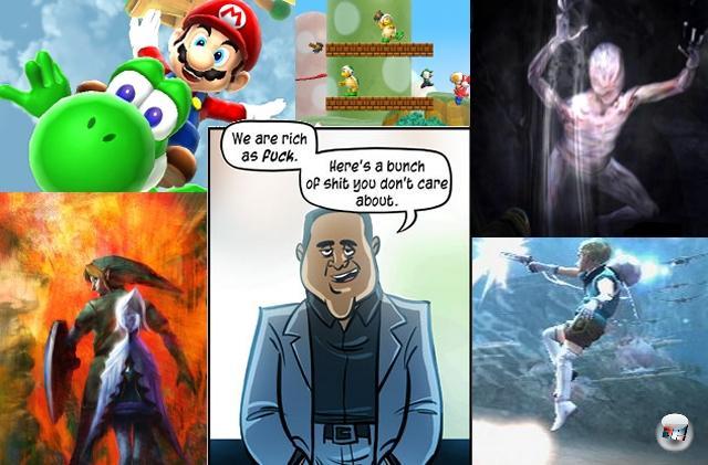 <b>Das in letzter Minute nicht doch völlig furchtbare Wii-Line-Up:</b><br><br>Der allergrößte Teil der Wii-Pressekonferenz lief genau wie letztes Jahr ab - dem Jahr, in dem Penny Arcade die PK Nintendo of America-Chef Reggie Fils-Aime mit folgenden Worten so treffend in den Mund gelegt hat: <i>»We are rich as fuck. Here's a bunch of shit you don't care about.«</i> Dieses Jahr sah es ganz genau so aus, bis mit einem Mal von Super Mario Galaxy 2 die Rede war. Hui, das grandiose Sin and Punishment kriegt endlich einen Nachfolger? New Super Mario Bros. Wii, yaaaaay! Silent Hill: Shattered Memories sieht erschreckend gut aus. Und irgendwo, irgendwann wurde ganz verschämt ein Artwork enthüllt, das auf ein neues Zelda hinweist. Na hossa! 1962388