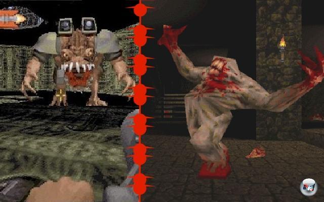 <b>Duke Nukem 3D vs. Quake:</b><br><br>1996 war ein wichtiges Jahr für Ballerfreunde, gebahr es doch zwei der wichtigsten Namen der Szene - Duke Nukem 3D und Quake. Ersterer bot zwar »nur« 2,5D-Grafik (die 3D-Engine kannte kein »echtes« 3D, ermöglichte aber auf geometrischen Tricks basierende Perspektivenverzerrung sowie Höhenunterschiede), dafür aber herrlich abgefahrenen Humor, großartig trockene Sprüche sowie... Stripperinnen! Im Gegensatz dazu war Quake düster, böse und humorfrei, dafür aber technisch jenseits von Gut und Böse: John Carmack zementierte seinen Ruf als Grafik-Oberheld mit echter Polygongrafik und brillanten Lichteffekten, dazu gab?s einen wunderbaren Koop-Modus, bis dahin nie gesehene Community-Einbindung sowie einen bedrohlichen Trent Reznor-Soundtrack. Langfristig hat Quake klar gewonnen: Nicht nur wegen der weit verbreiteten Engine, sondern vor allem angesichts der Tatsache, dass es vom Spiel mittlerweile drei Nachfolger gibt. Vier, wenn man Quake Wars dazuzählt. Eigentlich sogar fünf, wenn man das kommende Quake Live berücksichtigt. 1906503