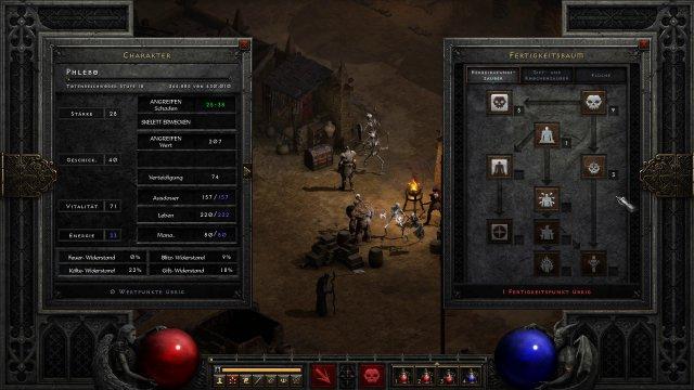 Interface-Überarbeitung: Charakter-Werte und Skillbaum auf einem Blick mit Freiraum für den Charakter in der Mitte.