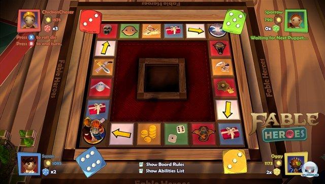 Die Charakterentwicklung erfolgt über Würfel und Spielbrett.