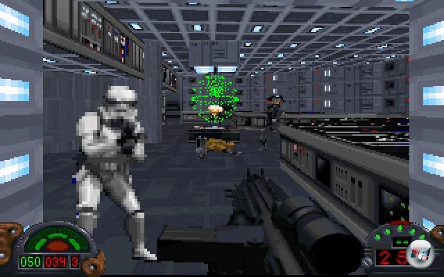 <b>Dark Forces</b><br><br>Über das Ende 1993 veröffentlichte Doom muss wohl kein weiteres Wort verloren werden - der kulturelle und spielerische Einfluss dieses Meisterwerks hat die Spielelandschaft nachhaltig verändert. So nachhaltig sogar, dass sogar Lucas Arts einen Ego-Shooter in seinem ruhmreichen Szenario platzierte - Dark Forces. Das Timing mag nicht optimal gewesen sein, denn 1995 wurde der Spielemarkt mit Doom-Klonen hemmungslos überschwemmt, außerdem hatte sich die damalige BPjS gerade warm geschnitten, so dass auch Dark Forces vom Fleck weg indiziert wurde - warum auch immer, wird doch weder auf Menschen geballert noch fließt Blut. Dennoch hob es sich nicht nur aufgrund seiner Lizenz mächtig aus der Masse hervor: Die eigens entwickelte 3D-Engine bot einen bemerkenswerten Grafik-Mischmasch aus Sprites und Polygonobjekten sowie jede Menge Spezialeffekte, das Geschehen beschränkte sich nicht nur auf Geballer, sondern bot auch viele interessante Puzzles, die Story um den Rebellen-Söldner Kyle Katarn und die Furcht erregenden Dark Trooper war aufregend inszeniert. Und nicht zu vergessen: Dark Forces legte den Grundstein für die Jedi Knight-Serie... 1855228