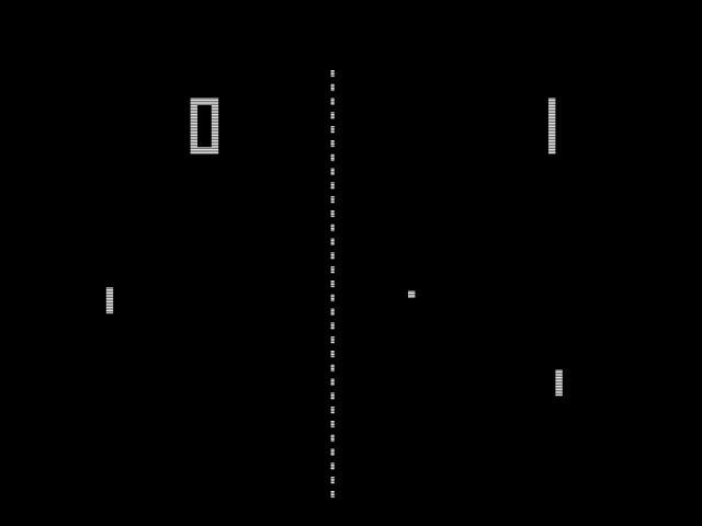 Pong<br><br>Ihr dachtet nicht, dass wir DEN Klassiker der Sportspiele vergessen würden, oder? Neben »uuuh, technische Meisterleistung « und »aaah, Urvater der Videospiele« ist Pong nämlich vor allem eins: Tennis in Reinform. Hier steht noch der Ball und nicht das Stöhnen der Kournikova im Vordergrund: Pling, Blopp, Pling, Blopp, Pling, Tröööt. Ursprünglich sollte »Pong« übrigens »Ping Pong« heißen – aber der Name war aus nebulösen Gründen schon geschützt. Doch bevor ihr gleich eine der zahlreichen Spielhallen belagert, um den Highscore zu knacken, solltet ihr unbedingt die Anleitung verinnerlichen: »Avoid missing ball for highscore« steht da. Sehr ihr! Wer hätte das gedacht? 2120513