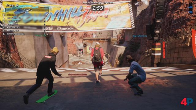 Mein Lieblingslevel (Downhill Jam) im Online-Mehrspieler-Modus. Am Start stehen noch alle vereint, später verteilt sich die grindende Meute auf das ganze Areal.