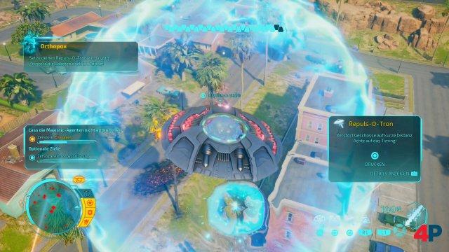 Das UFO ist ein Werkzeug der Zerstörung! Mit guten Reflexen lassen sich auch Gegenmaßnahmen auf feindlichen Beschuss ergreifen.