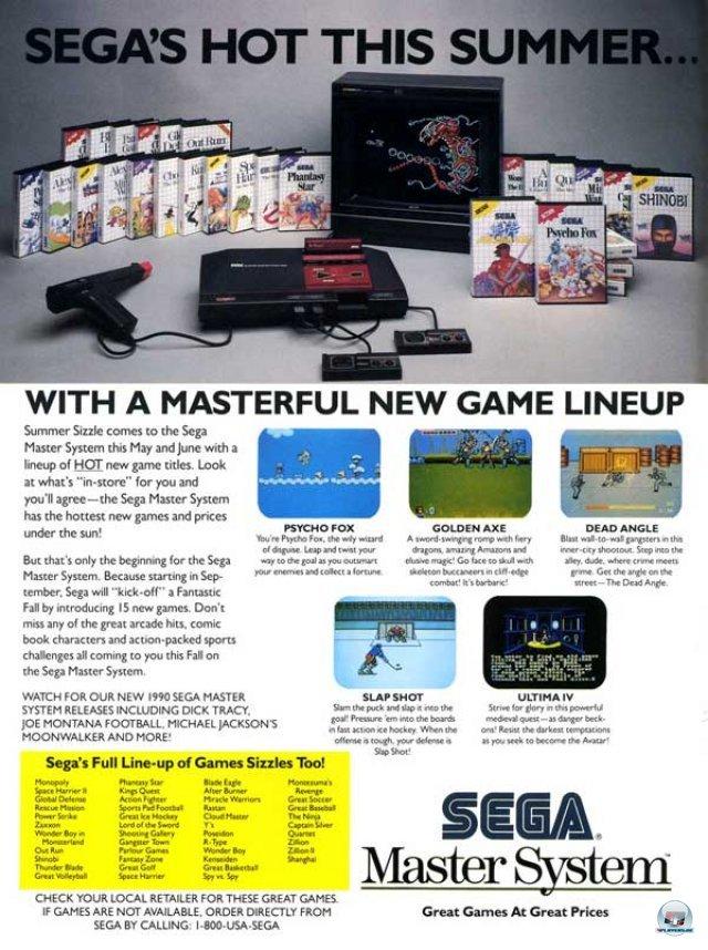 <b>Master System: 298 DM</b> <br><br> Auch Sega brachte sein Master System erst 1987, also zwei Jahre nach dem Japan-Start, nach Europa: Die elegant kantige Hardware der ersten Version sah noch aus wie eine futuristischer Cryoschlaf-Sarg. 92404007