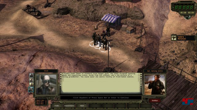Man startet mit vier Helden in der Basis der gesicherten Basis der Desert Ranger. Der Schwierigkeitsgrad ist in vier Stufen jederzeit änderbar.