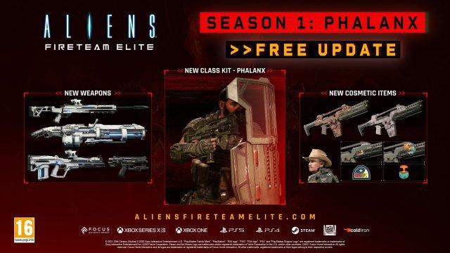 Das Season-1-Update ist bereits veröffentlicht worden. Kostenlose Inhalte: Phalanx-Kit (Klasse), neue Waffen und optische Anpassungen.