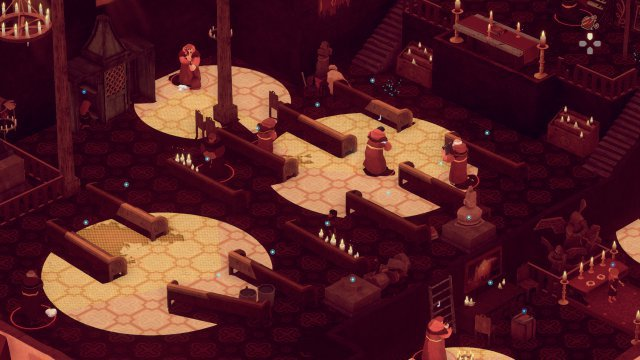 Schleichspaß hinter Klostermauern: Unser Knabe (schwer zu erkennen in der Bildmitte, sein Kopf rage ins Licht) versucht, an den Mönchen vorbeizugelangen. Ebenfalls zu sehen: Gelbe Sichtkegel auf hellbraunem Grund sind keine gute Idee.