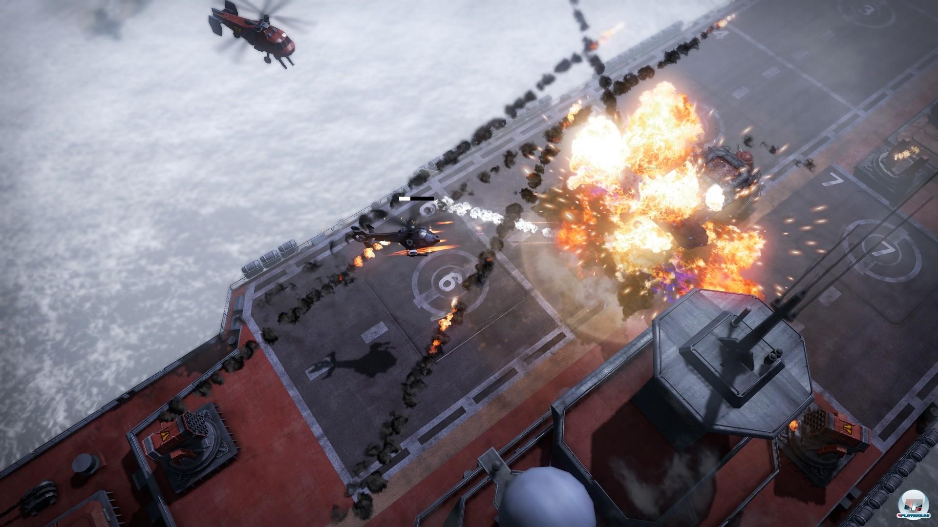Neben dem Fahrzeug besteigt man gelegentlich auch den Helikopter, um aus der Luft für Schrecken zu sorgen.