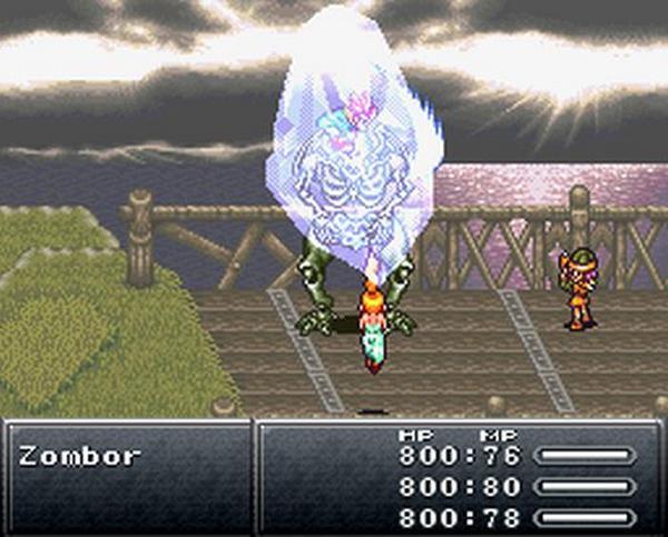 Chrono Trigger (SNES 1995)<br><br>1995 schuf Squaresoft mit Chrono Trigger auf dem SNES einen weiteren Meilenstein in der Rollenspielgeschichte, an dem namhafte Final Fantasy- und Dragon Quest-Veteranen beteiligt waren. Wie FF bot es ein ATB-Kampfsystem, das jedoch weiter fortgeschritten war und sich von traditionellen Zufallsbegegnungen weitgehend befreit hatte. Viele Gegner waren ähnlich wie in damaligen Action-RPGs bereits auf der zweidimensionalen Feldkarte sichtbar, die Kämpfe fanden direkt an Ort und Stelle statt. Zudem gab es erstmals verschiedene Spielenden, Plot-bezogene Sidequests mit Fokus auf Charakterentwicklung sowie eine unglaublich detaillierte Grafik. 1720275