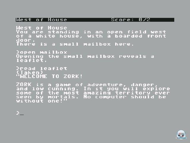 <b>Zork: The Great Underground Empire</b><br><br> In den Textadventures von Infocom musste man seine Fantasie spielen lassen: Spiele wie Zork (1984) besaßen keinerlei Grafik. Stattdessen erforschte man die Welt mit Befehlen wie Himmelsrichtungen oder