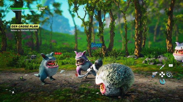 Flauschige Feinde: Nicht alle Gegner sind so putzig modelliert wie diese Fellkugeln - generell gehört das Design der Wesen aber zu den Stärken von Biomutant.