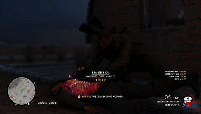 Auch Nahkampfangriffe und gelegte Sprengfallen werden mit Röntgenansicht dargestellt.