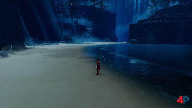 Die Bogenschützin beginnt am Strand einer Insel.