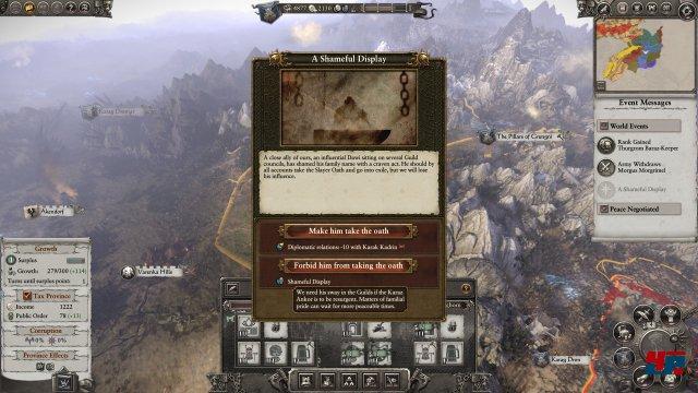 Ereignisse und Missionen machen die Kampagne lebendig. Zahlreiche Faktioren beeinflussen außerdem verschiedene Werte - die Welt von Warhammer ist in ständiger Bewegung.