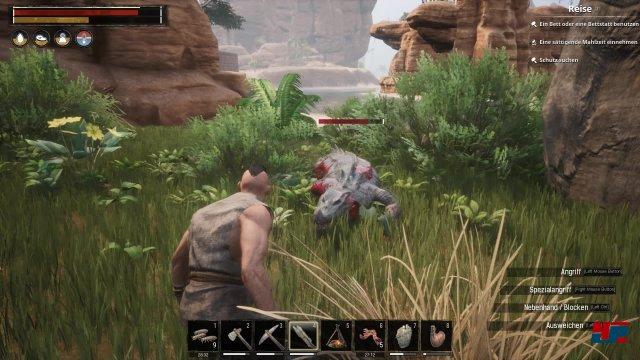 Die Anfänge als Verbannter in der Welt von Conan sind bescheiden. Mit Steinwaffen und Stoffrüstung können selbst behäbige Krokodile zu einer echten Gefahr werden.