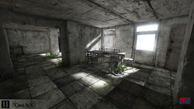 Die Spielwelt von Homesick ist grau. Nur selten findet man bunte Gegenstände.