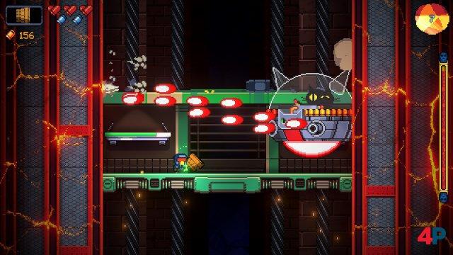 Boss-Duell: Die Killermieze in ihrem Mobil erinnert an Dr. Robotniks Gefährte aus diversen Sonic-Spielen.