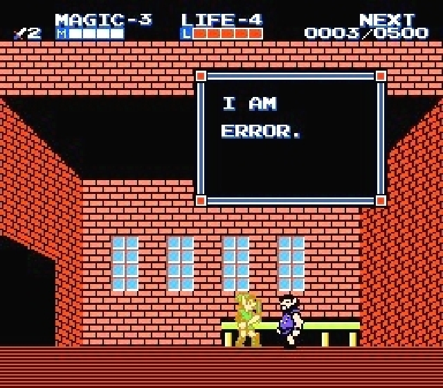 <b>Zelda 2: The Adventure of Link</b><br><br> Ein Rätsel, so knackig wie das von Atlantis und dem Yeti: Warum sagt dieser Mann, dass er ein Fehler ist? So schlimm kann das Landleben doch gar nicht sein, selbst bei RTL finden Bauern hier und da Frauen. Oder ist »Error« am Ende gar sein Name? Der japanische Originaltext lässt diese Schlussfolgerung zu, aber sie ist zu demystifizierend, und damit disqualifiziert. Das scheint Nintendo auch so zu sehen, denn dieser legendäre Satz wurde in Super Paper Mario wieder zum Leben erweckt. 1776038