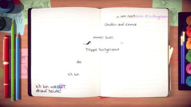 Schöne Idee, gut umgesetzt: In den Tagebuch-Abschnitten baut Lost Words bildschirmgroße Sprungpassagen aus Textzeilen.