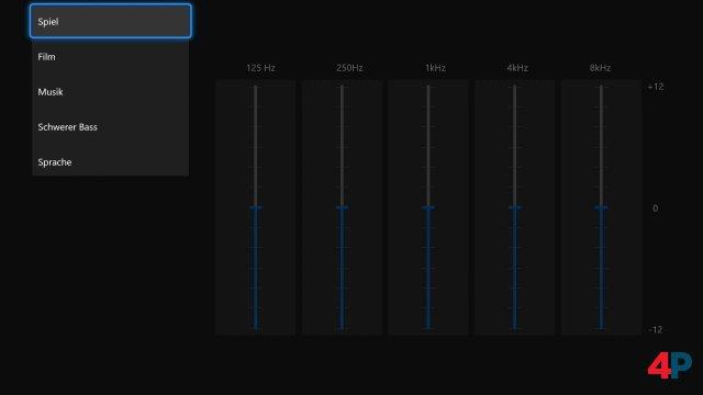 Beim Equalizer findet man bereits ein paar vorgefertigte Profile innerhalb der Zubehör-App.