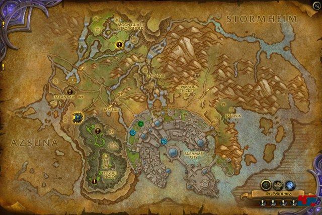 Die wichtigsten Gebiete, in denen man Weltquests findet, sind: Azsuna, der Hochberg, Sturmheim, Suramar und Val