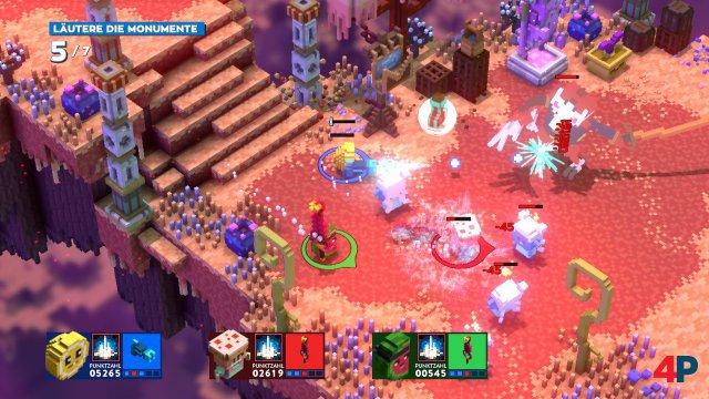 Hauen und schießen mindestens drei Spieler gleichzeitig, regiert das Voxel-Chaos.
