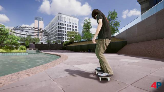 Die Skatespots (hier: One California Plaza) wurden realen Vorbildern nachempfunden. Auch tummeln sich echte Profi-Skater im Spiel. Schick ist, wie der Stoff ihrer Klamotten fällt.
